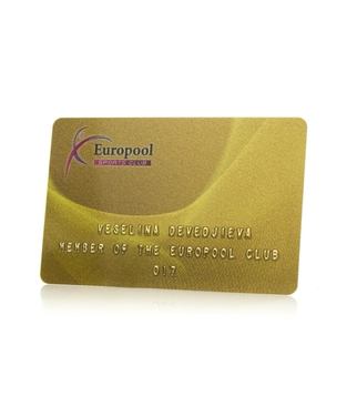Club card with golden print and embossing | J Point Cards