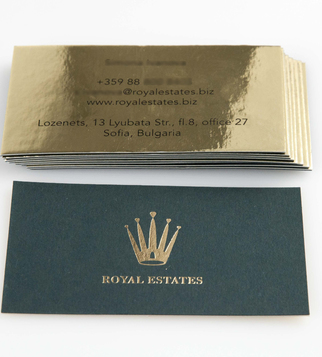 Business cards with golden cardboard and hot stamping | J Point Plus